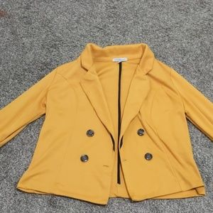 Mustard Yellow Cropped Sleeve Blazer